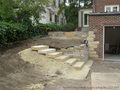 complete backyard renovation installing natural stone steps and
