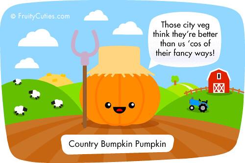 Cartoon bumpkin pumpkin joke the countryside fresh air - Fruity cuties jokes ...