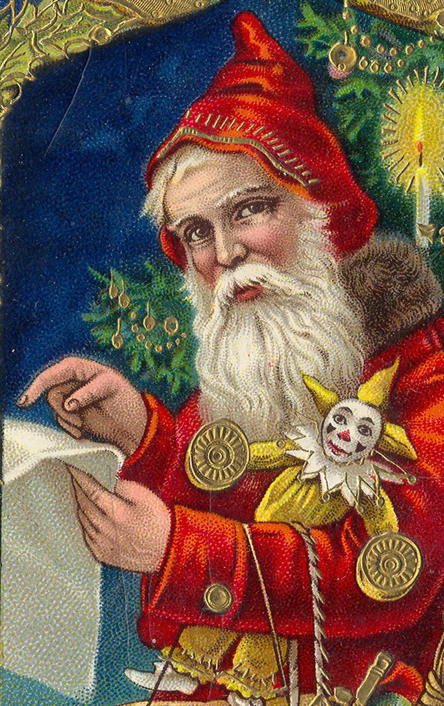magical red santa checking his list gorgeous german printe