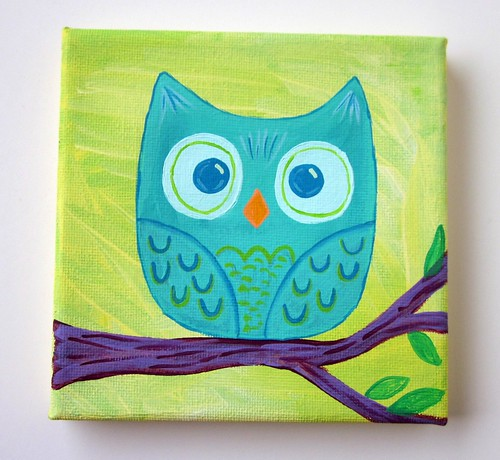Mini teal owl original painting 5x5 canvas flickr for Things to do with mini canvases