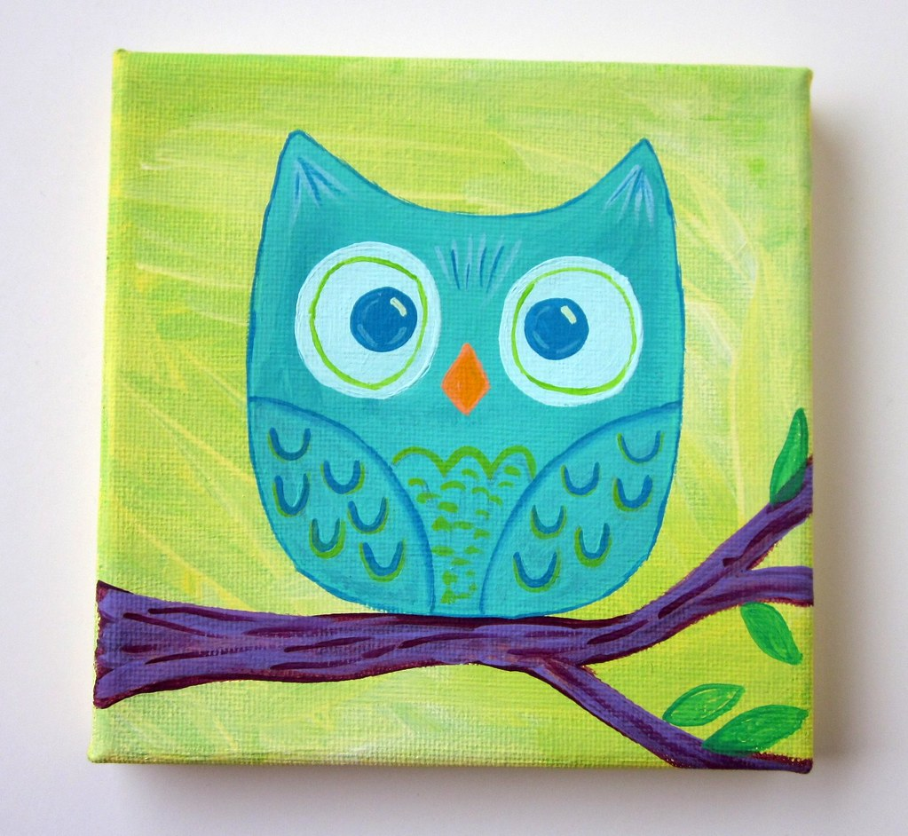 Mini teal owl original painting 5x5 canvas etsy update for Cute simple paintings