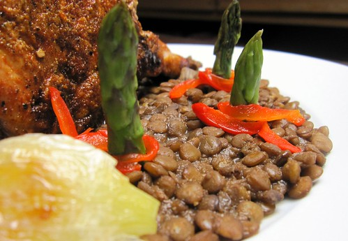 Lentils with chocolate and baked paprika spiked pork chop | by SeppySills