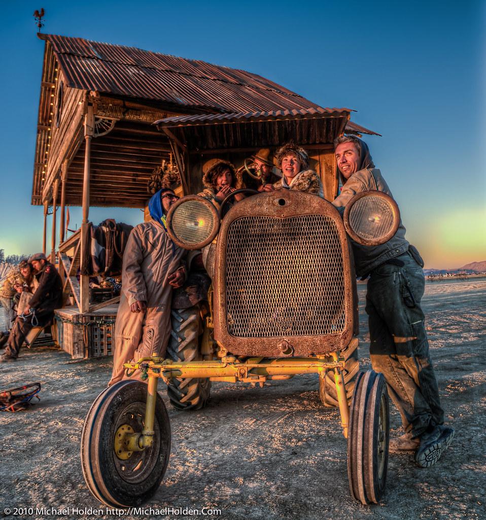 The Front Porch Art Car At Burning Man 2010 (HDR/Color