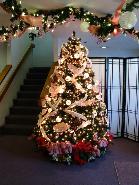 Asian Themed Christmas Tree And Garland Decorations