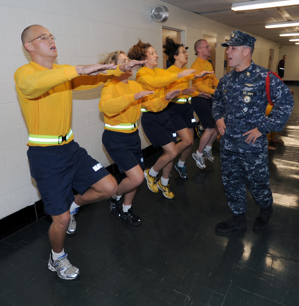 navy officer candidates train during fitness session