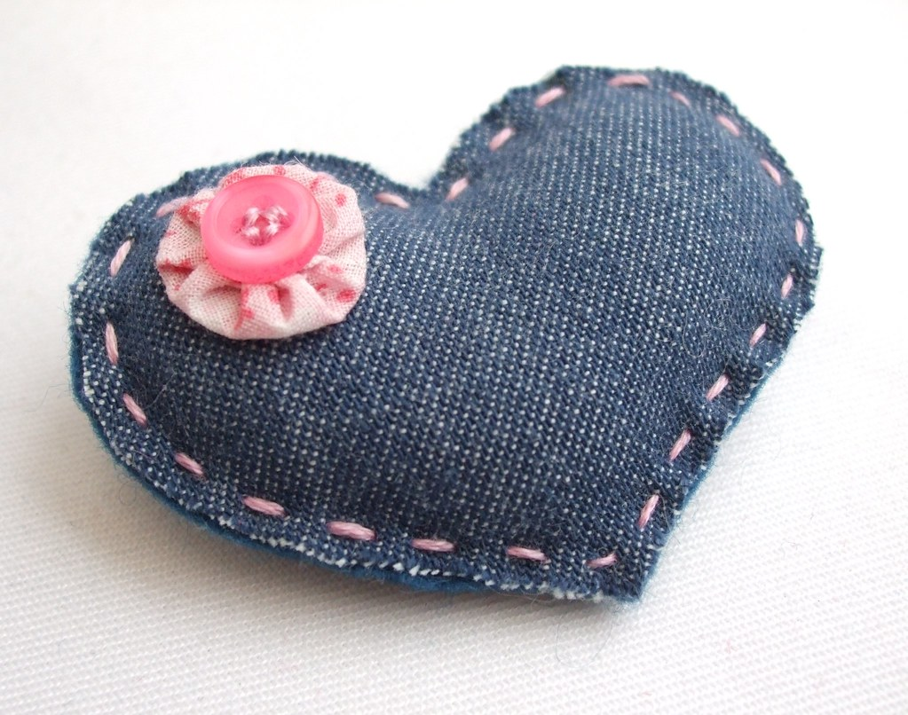 upcycled denim heart brooch ali flickr
