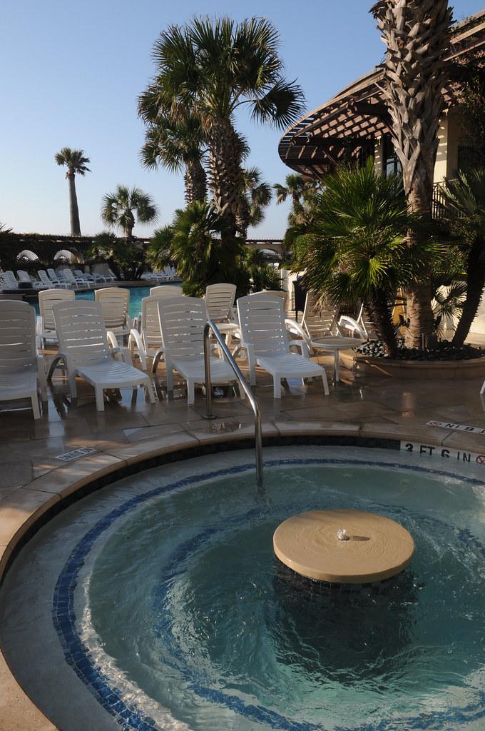 Swimming Pool Hotel Galvez Galveston Texas TX Jacuzzi Palm