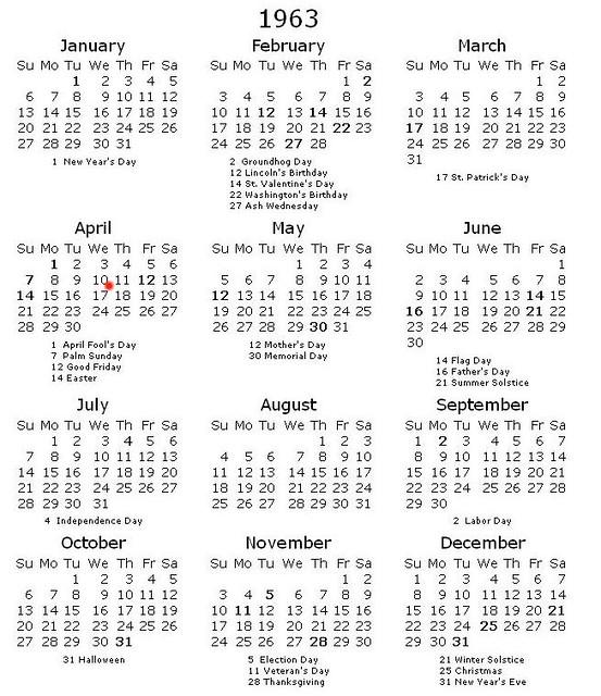 1963 Calendar | New Calendar Template Site