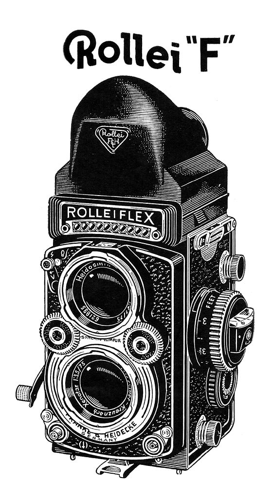 Rolleiflex Camera Drawing Rolleiflex 3.5f With Hood