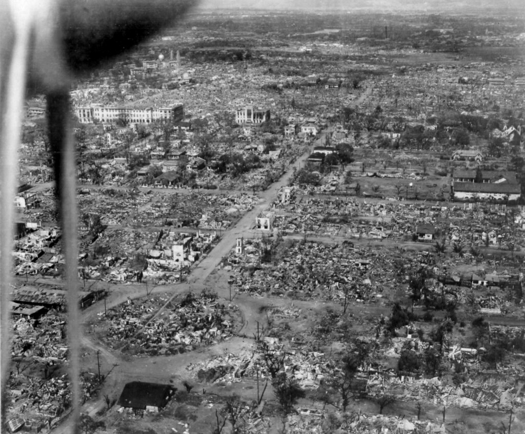 Destruction in Manila - Philippines Women's University in Upper Left.