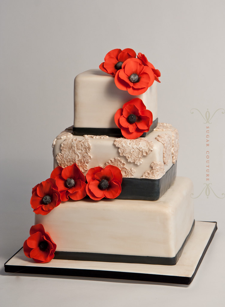 Poppy Rose Cake Design : vintage lace & poppy wedding cake Penny Stankiewicz Flickr