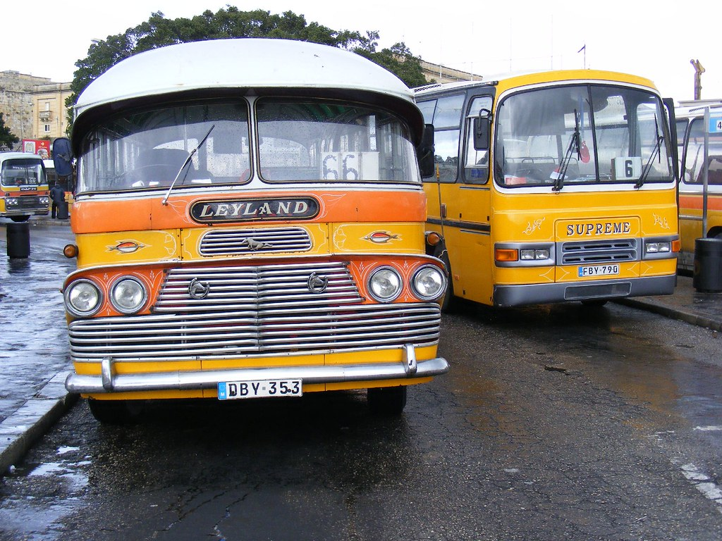Malta Bus Pair Dby 353 And Fby 790 Route 66 And 6 Vall