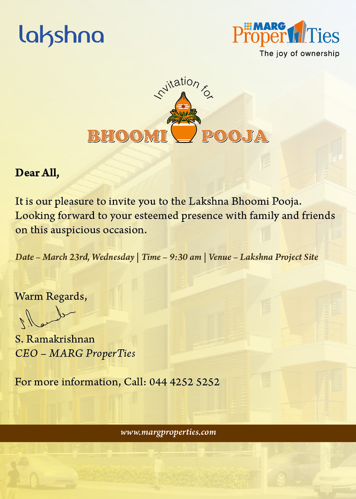 bhoomi pooja invite | IT is our pleasure to invite you to la… | Flickr