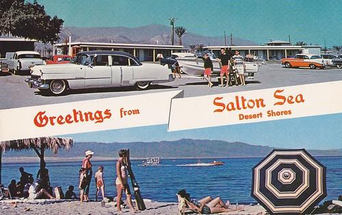 Vintage Trailer Resort >> Greetings from Salton Sea - Desert Shores - postcard 1950s ...
