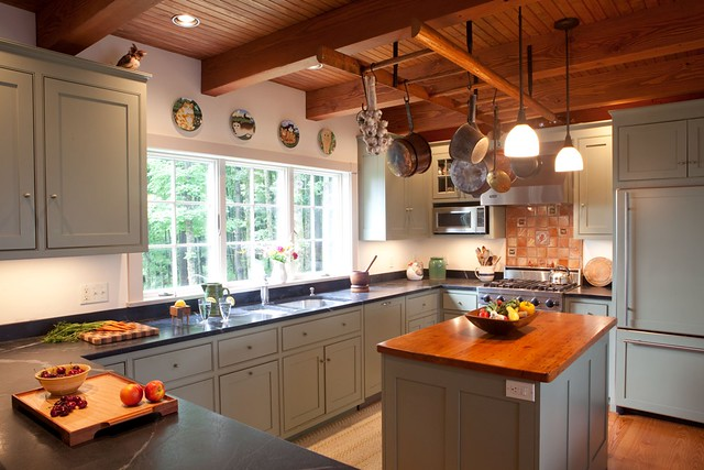 Early american post beam kitchen flickr photo sharing for All american kitchen cabinets