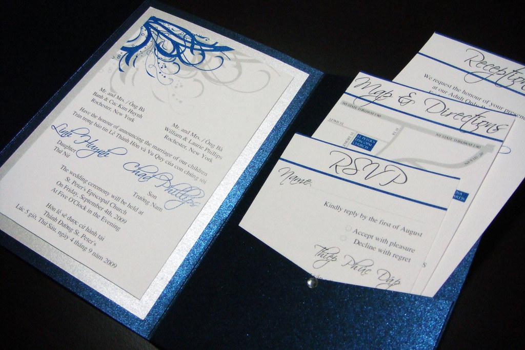 blue (navy) and silver vietnamese wedding invitations | flickr, Wedding invitations