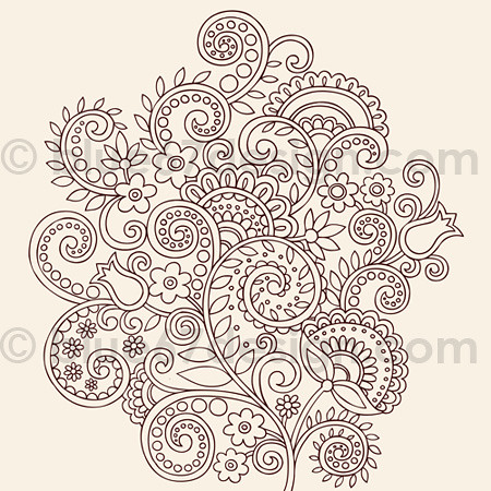 Henna Doodles Flower Vines Vector Tattoo Design by blue67design | by blue67design