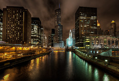 Chicago River by Night by DaveWilsonPhotography