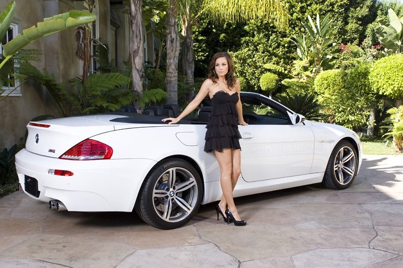 hot girl model bmw m6 cabrio a beautiful models in front