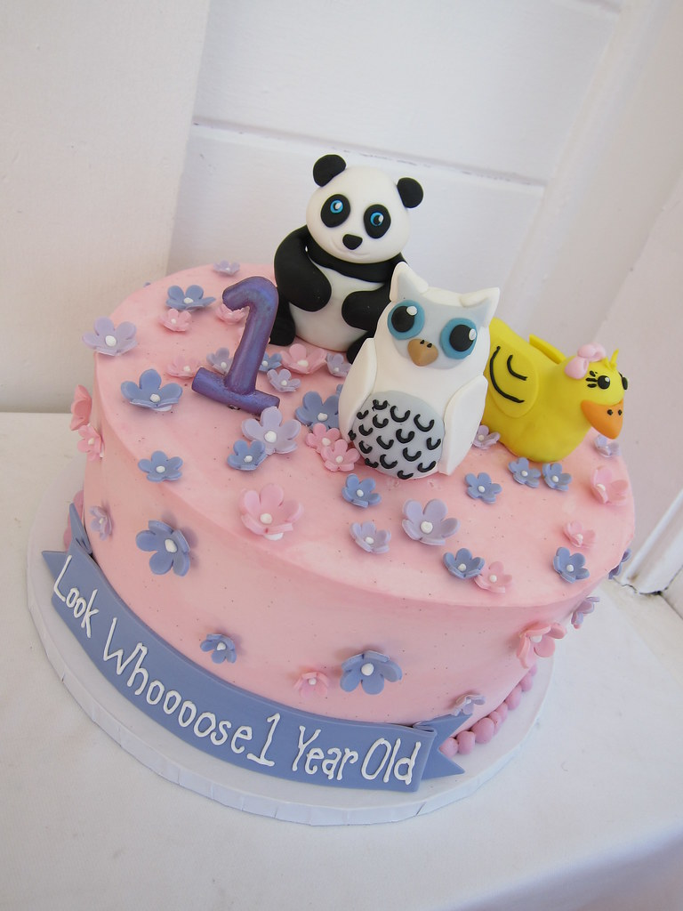 Panda Owl Duck First Birthday Cake Polkadots Olga Flickr
