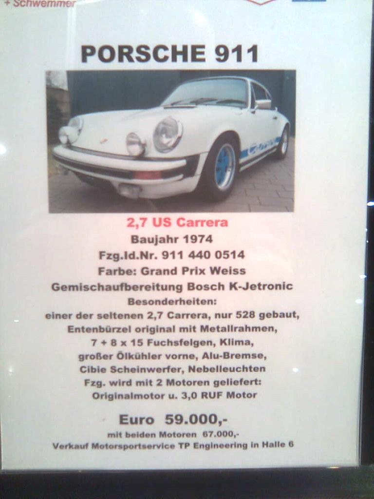 Porsche 911 Carrera RS - 1974 - spec sheet   Porsche 911 ...