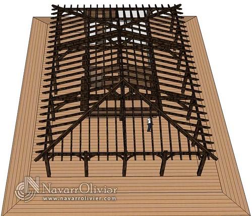 Cubierta de chiringuito estructura de madera para for Tejados de madera a cuatro aguas