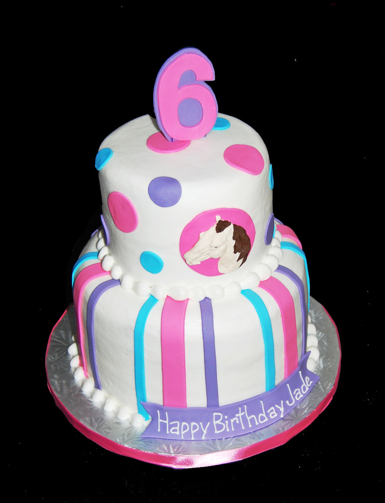 Pink Purple And Blue Horse Themed 6th Birthday Cake Flickr