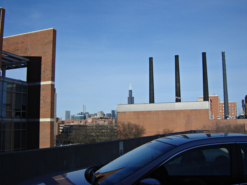 Chicago Skyline Uic Medical Center On The Roof Of The