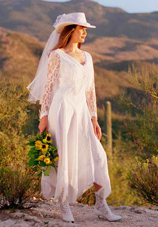 Cowboy Style White Wedding Dress Find More Wedding