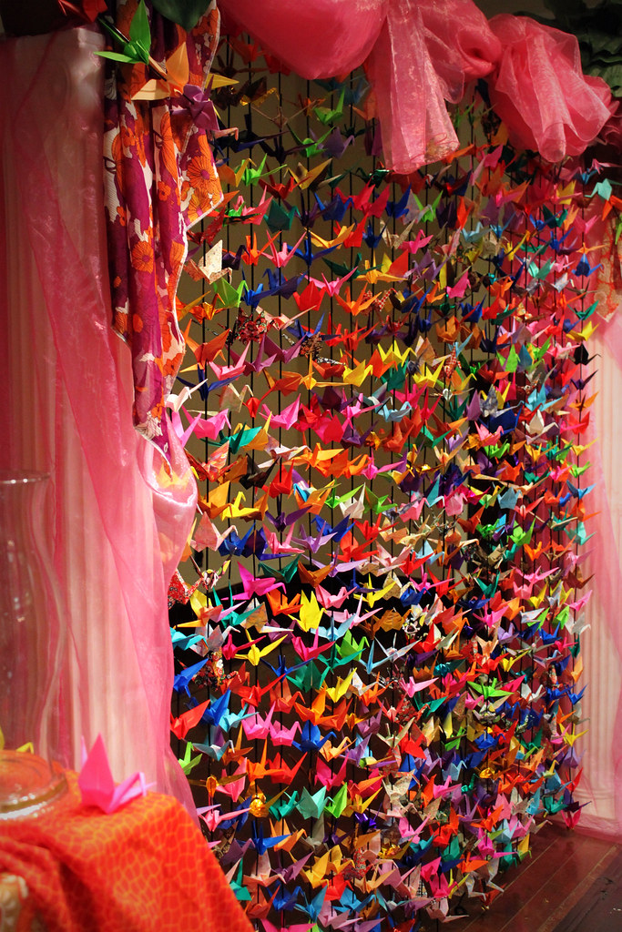 One thousand paper cranes the backdrop for our wedding for 1000 paper cranes wedding decoration