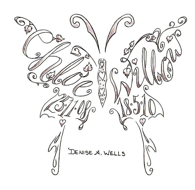 name tattoos made into a butterfly shape by denise a well