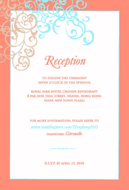 Wedding Reception Card Design