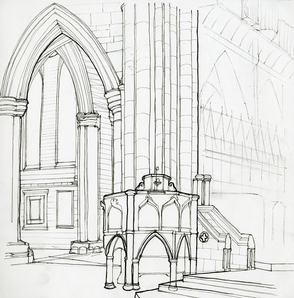 Cathedral Drawing Cathedral Line Drawing