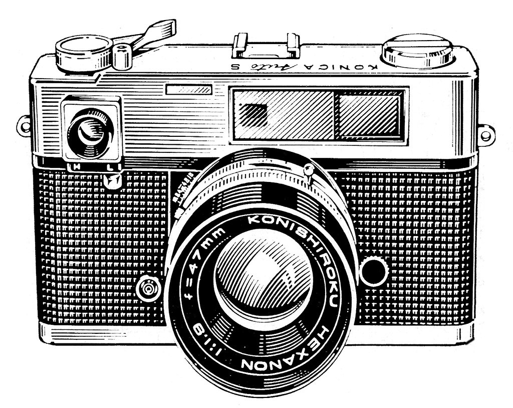 Line Drawing Camera : Konica auto s ad line art a detail from an