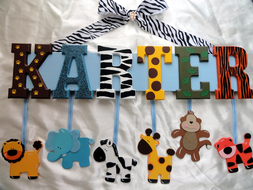 Jungle Zoo Animal Themed Name Sign A Hand Painted