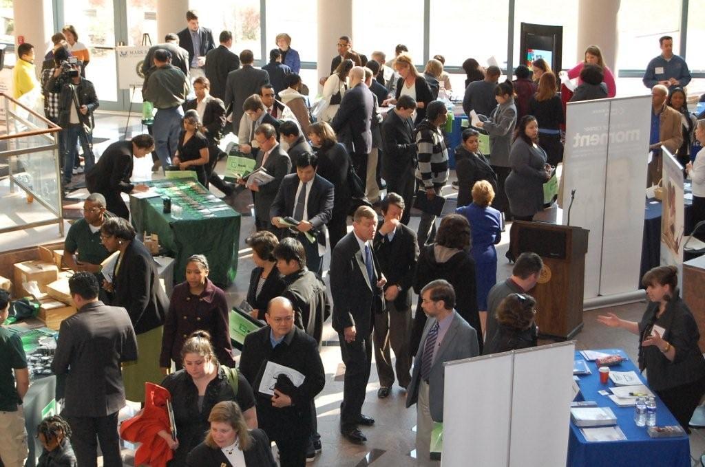 job seekers and recruiters pack the forum job seekers