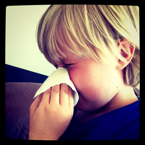 Blowing his nose - sick l'il boy Stew | by marcusnelson