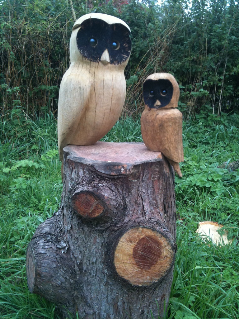 Owls on table chainsaw carving rob beckinsale flickr