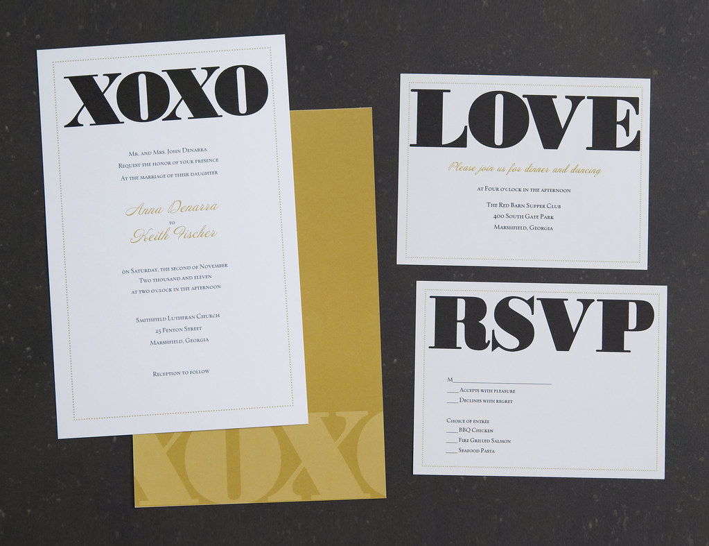 Vistaprint Invitations Wedding: Vistaprint Wedding Invitation - Black/Gold XOXO #2