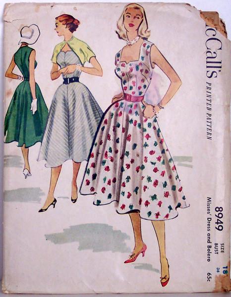 50s swing dress patterns mccalls 8949 vintage 50s full