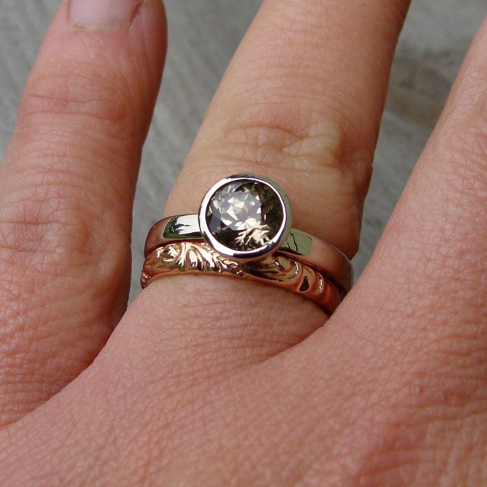 fair trade zultanite and recycled 14k white gold engagemen