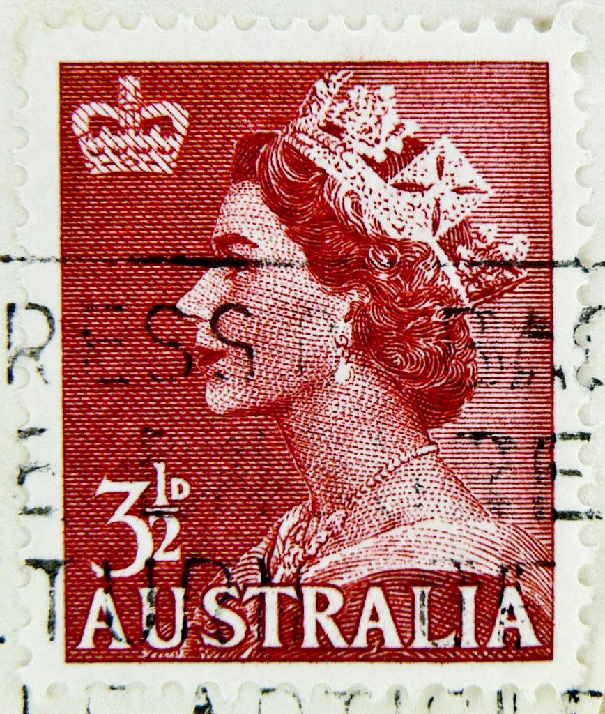 Stamp Australia Postage 3 1 2 D 3 5d 3 5 D P Pence Queen E