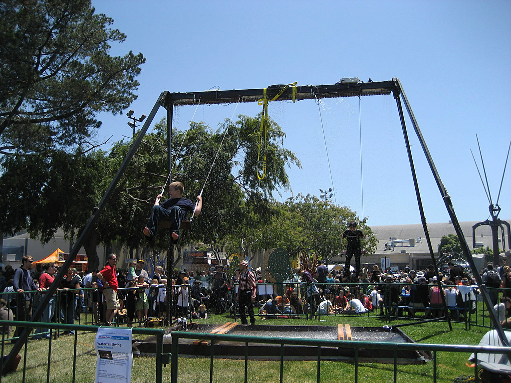 Waterfall swing towering steel swing set holding arrays for Waterfall swing set