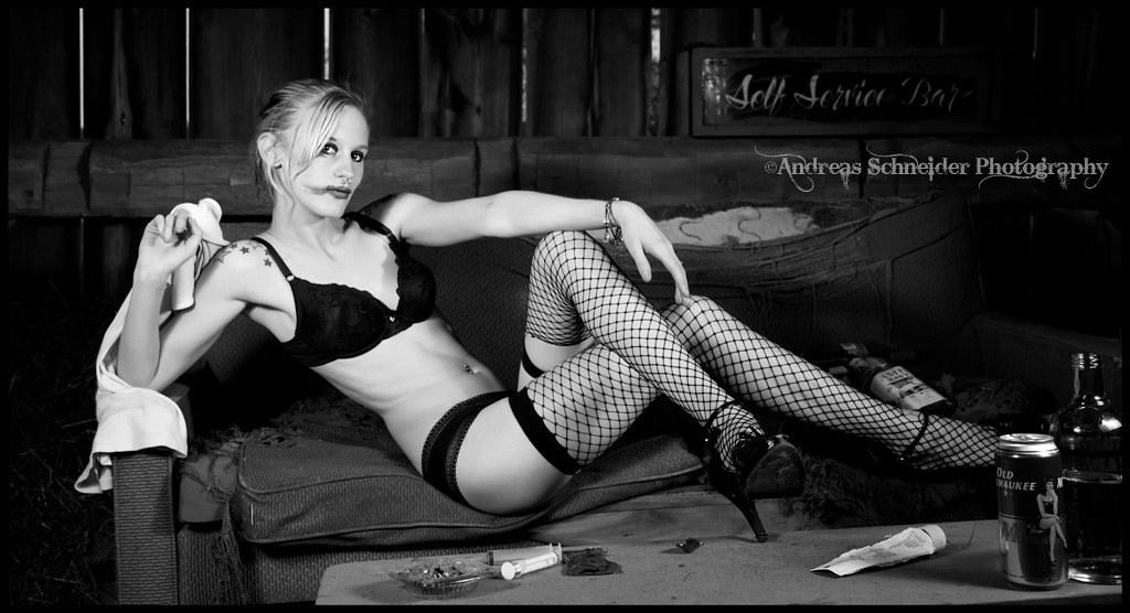 Blonde model in lace black lingerie, fishnets, and black h… | Flickr