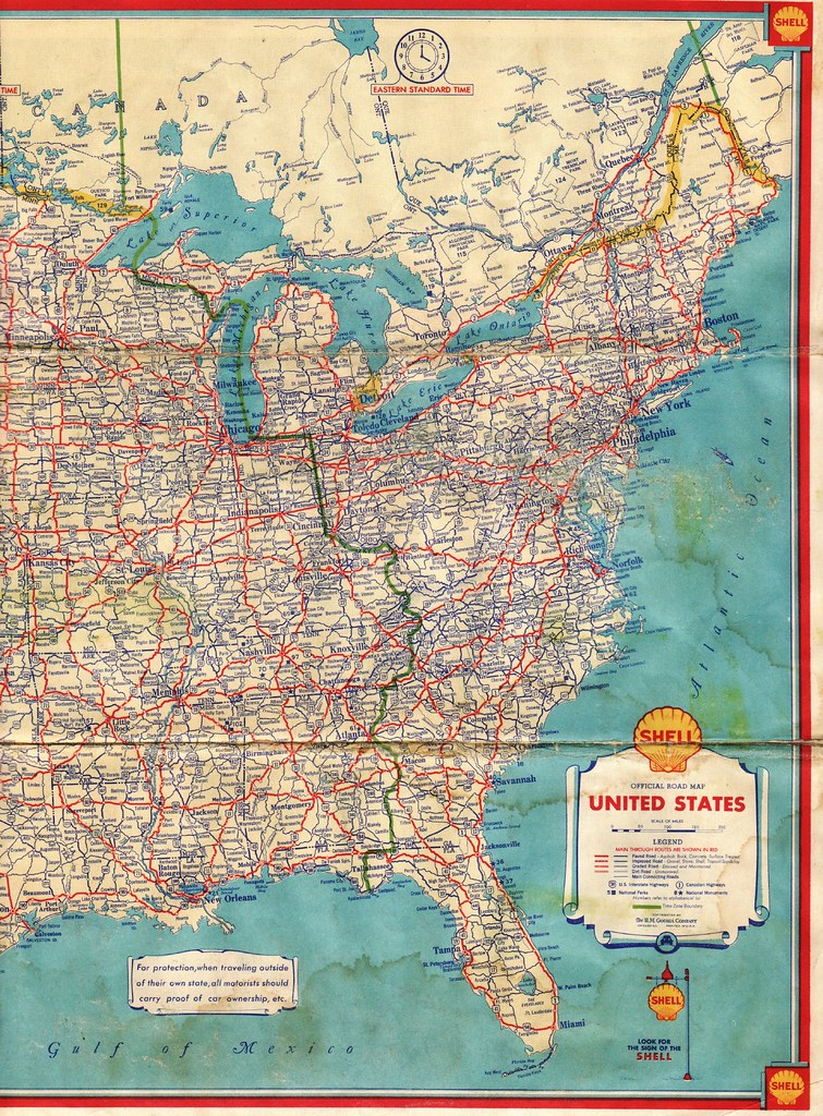 1934 Shell Road Map This Eastern United States highway map Flickr
