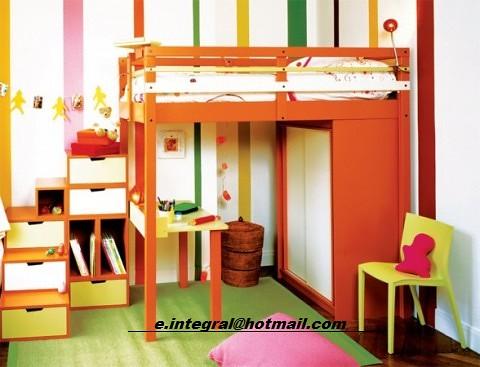 Cama alta con closet escritorio silla escalera con 6 cajon for Closet con escalera