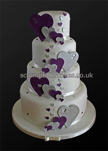 purple silver and white wedding cakes wedding cake 746 purple amp silver hearts paula 18905