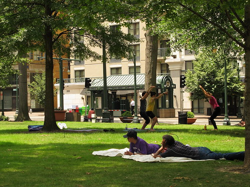 June 2 - Picnicking and Yoga at Court Square | by SusanKC