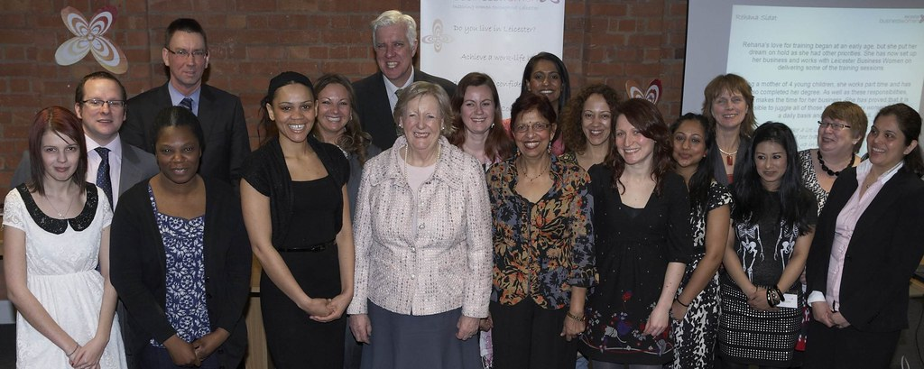 baroness hanham with budding entrepreneurs at leicester bu