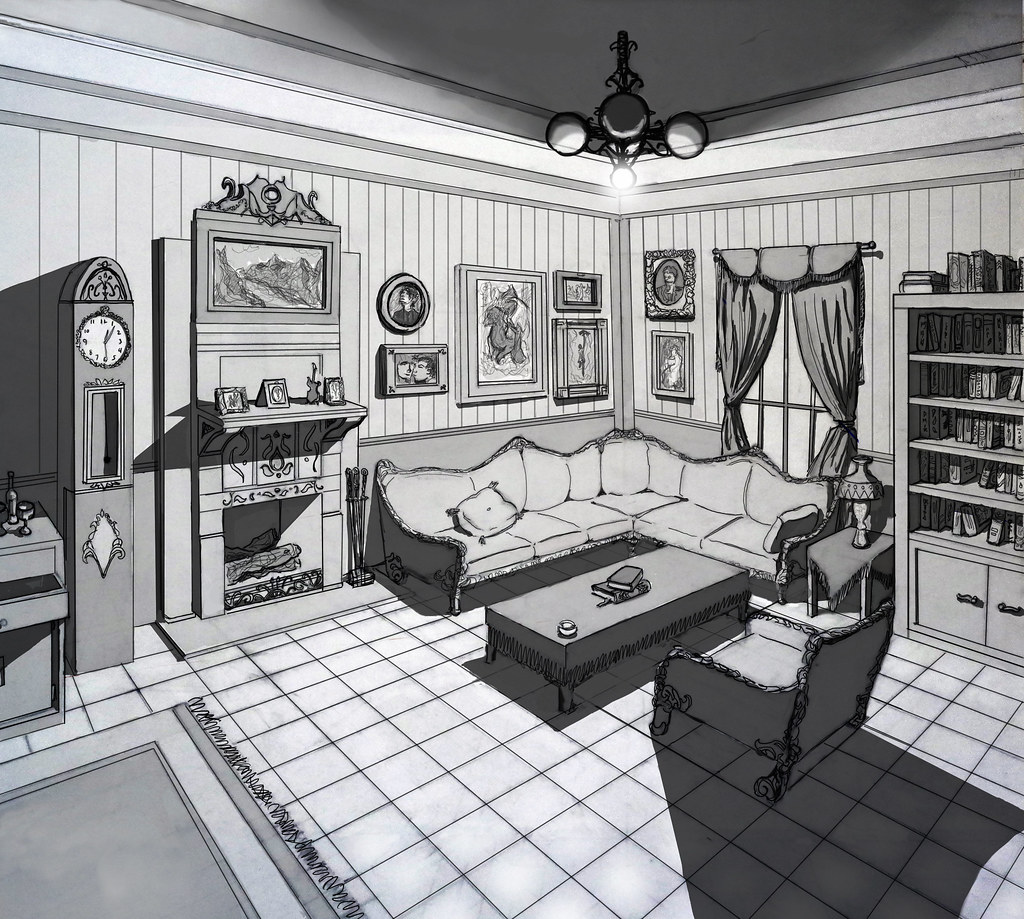 2 pt perspective interior and lighting study of 2 pt for Living room 2 point perspective